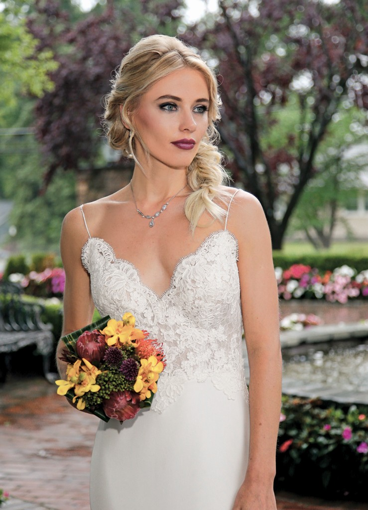Gown-Jude Jowilson (Hedy, $3,850), Sandra's & Donath's Florist, Hair Jewelry-Sterling Hairpins, Earrings-David's Bridal