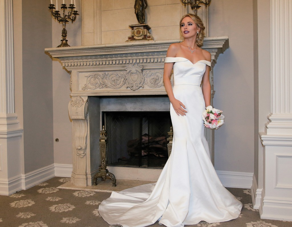 Gown-Jude Jowilson (Judy, $2,970), Sandra's & Donath's Florist, Hair Jewelry-Sterling Hairpins, Earrings-David's Bridal