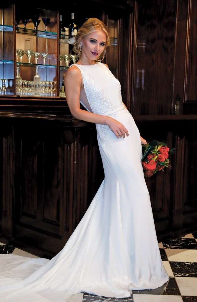 Gown-Jude Jowilson (Lola, $4,180), Sandra's & Donath's Florist, Hair Jewelry-Sterling Hairpins, Earrings-David's Bridal