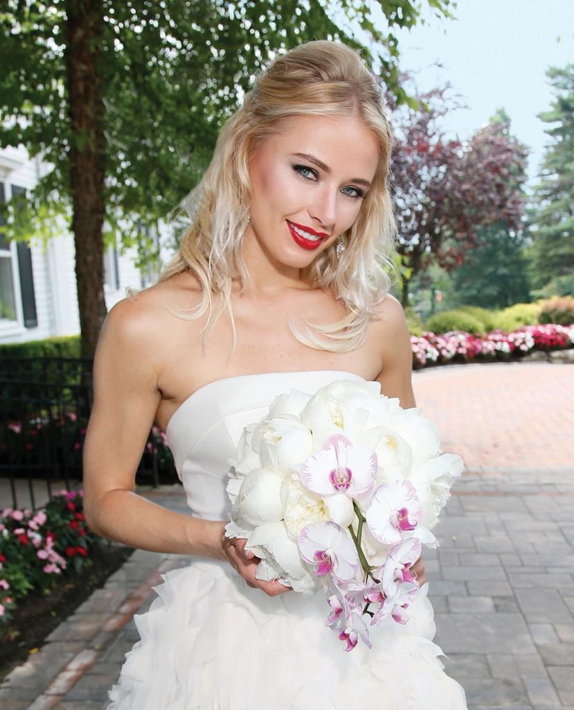 Gown-Oleg Cassini at David's Bridal (CWG805, $1,258), Ariston Flowers, Earrings-David's Bridal