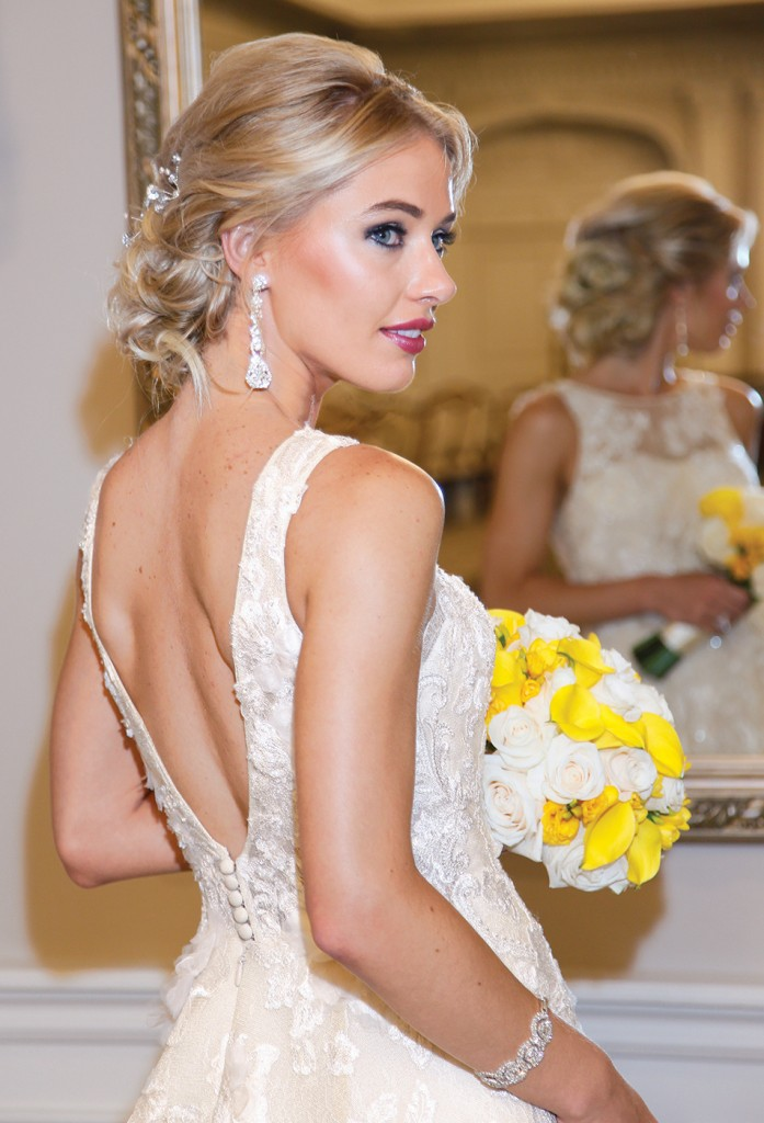 Gown-Oleg Cassini at David's Bridal (CWG806, $1,258), Ariston Flowers, Hair Jewelry-Sterling Hairpins, Earrings-David's Bridal