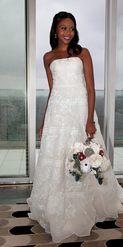 Gown: Oleg Cassini at David's Bridal (CWG812, $1458). Forever Brooch Bouquets