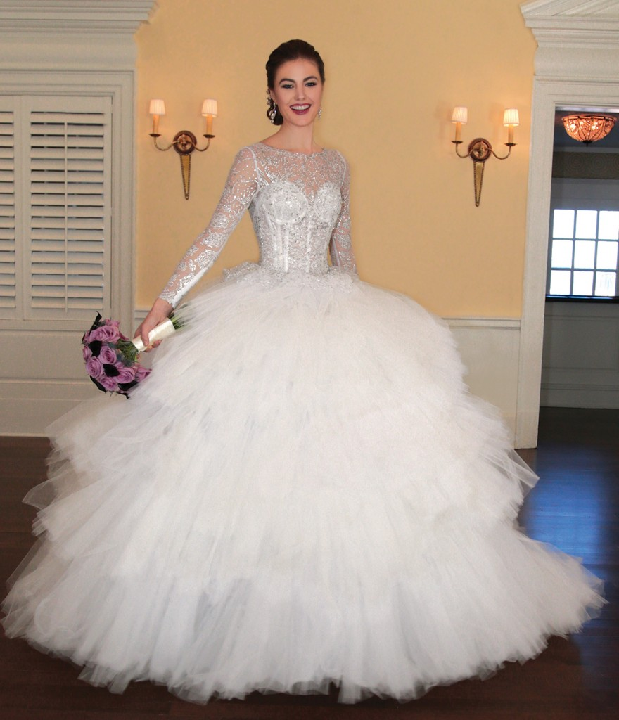Gown: Lucia Rodriguez (Multi-Tiered Princess, $7800). Ariston Flowers