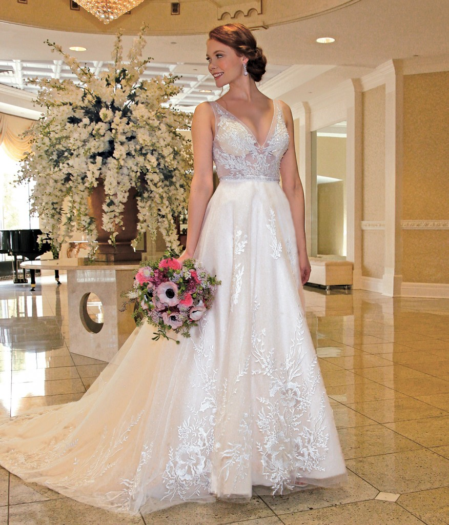Gown: Bossina Signature (BC8501, $2200). Bouquet: Mitch Kolby Events
