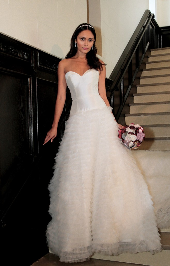 Gown: Antonio Gual (Devon) at Tulle NY. Bouquet: Forever Brooch Bouquets.