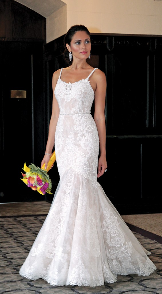 Gown: Galina Signature (SWG824, $1258) at David's Bridal. Bouquet: Henry's Florist Floral Decorators.