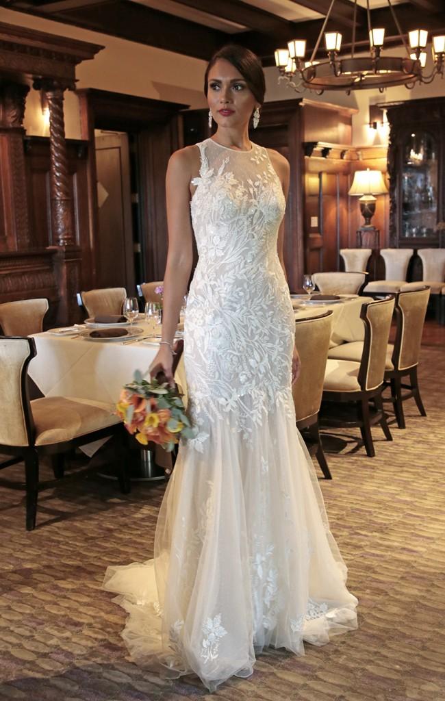 Gown: Melissa Sweet (MS251201, $958) at David's Bridal. Bouquet: Henry's Florist Floral Decorators.
