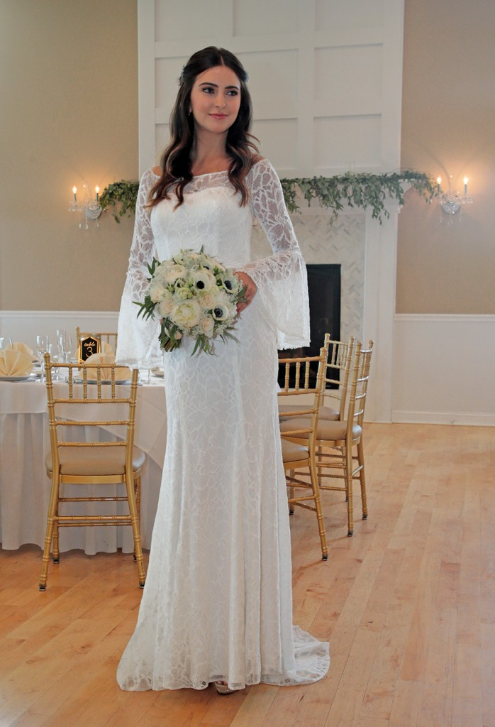 Gown: Galina (WG3949, $499) at David's Bridal. Bouquet: Mitch Kolby Events.