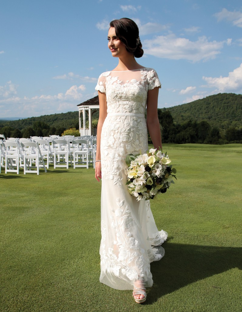 Gown: Melissa Sweet (MS251199, $1058) at David's Bridal. Bouquet: Douglas Koch Designs Ltd.