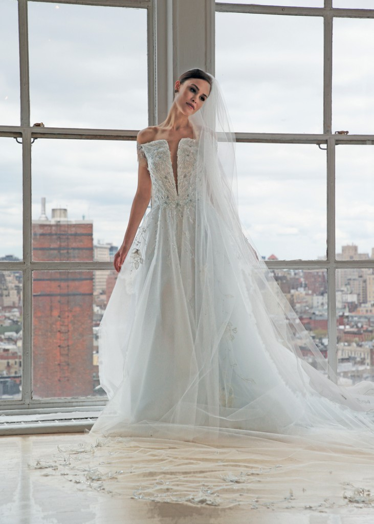 Ines di Santo Bridal Wedding Gown A-Line V-Neck Cap Sleeves
