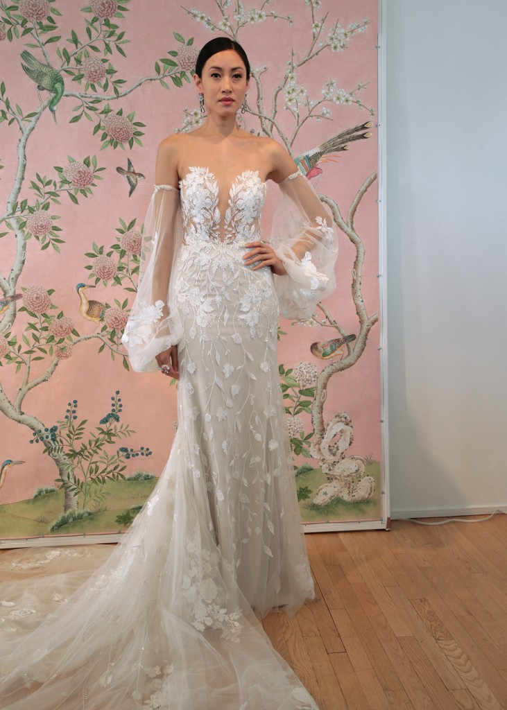 Ines di Santo Bridal Wedding Gown Trumpet, Illusion V-Neck, Long Sleeves