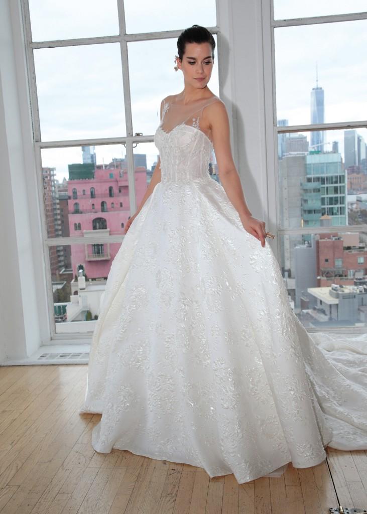 Ines di Santo Bridal Wedding Gown Ballgown Sweetheart Illusion Sleeveless