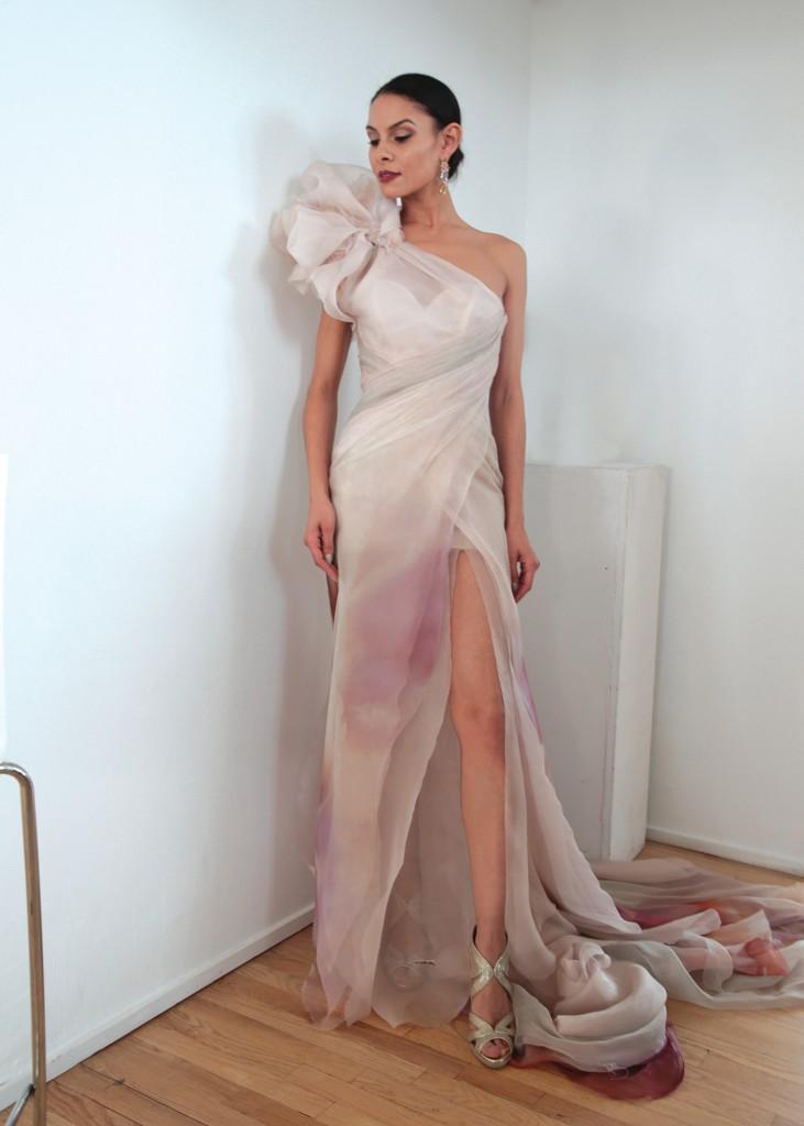 Ines di Santo Bridal Wedding Gown Asymmetrical Sleeveless Sheath