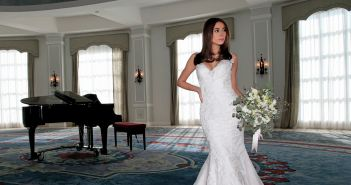 Gown: Bossina Couture (BC621, $1800). Bouquet: Douglas Koch Designs Ltd.