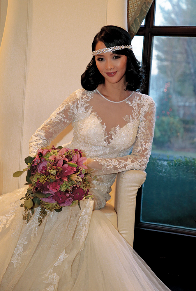 Gown: Oleg Cassini (CWG844, $1399) at David's Bridal. Bouquet: Henry's Florist Floral Decorators.