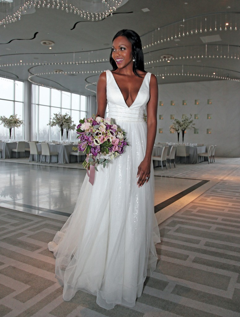 Gown: Galina Signature (SV821, $958) at David's Bridal. Bouquet: Douglas Koch Designs Ltd.