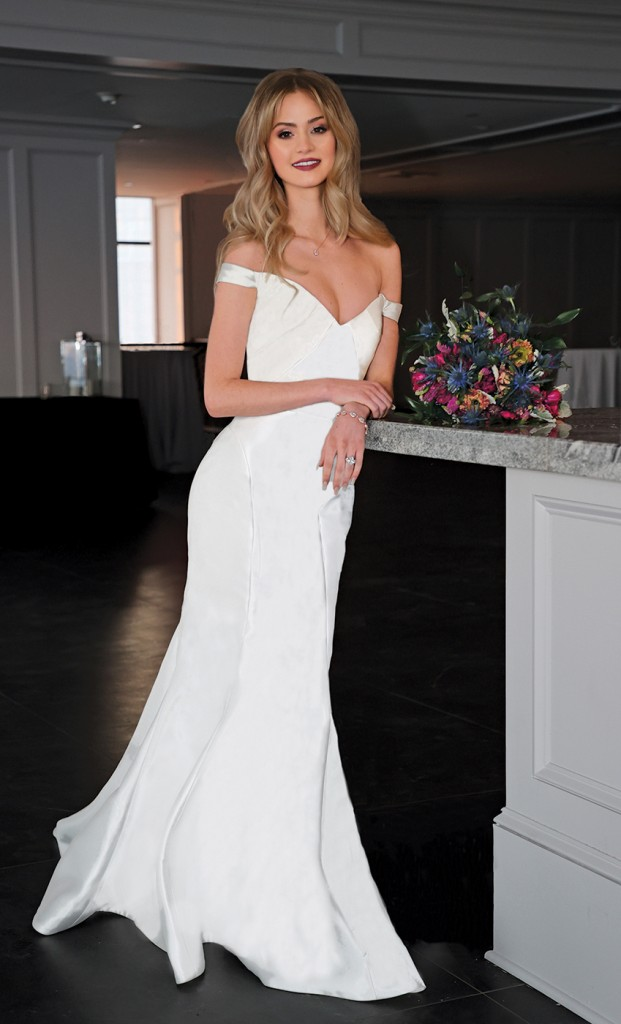 Gown: Antonio Gual at Tulle New York (Tamara, $3000) Bouquet: Douglas Koch Designs Ltd.