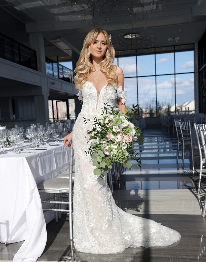 Gown: Galina Signature (LSSWG885, $1299) Bouquet: Douglas Koch Design Ltd.