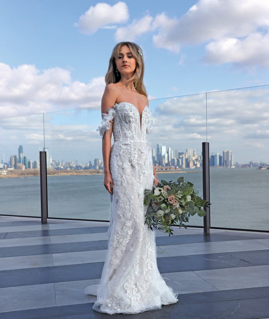 Gown: Galina Signature (LSSWG885, $1299) Bouquet: Douglas Koch Designs Ltd.