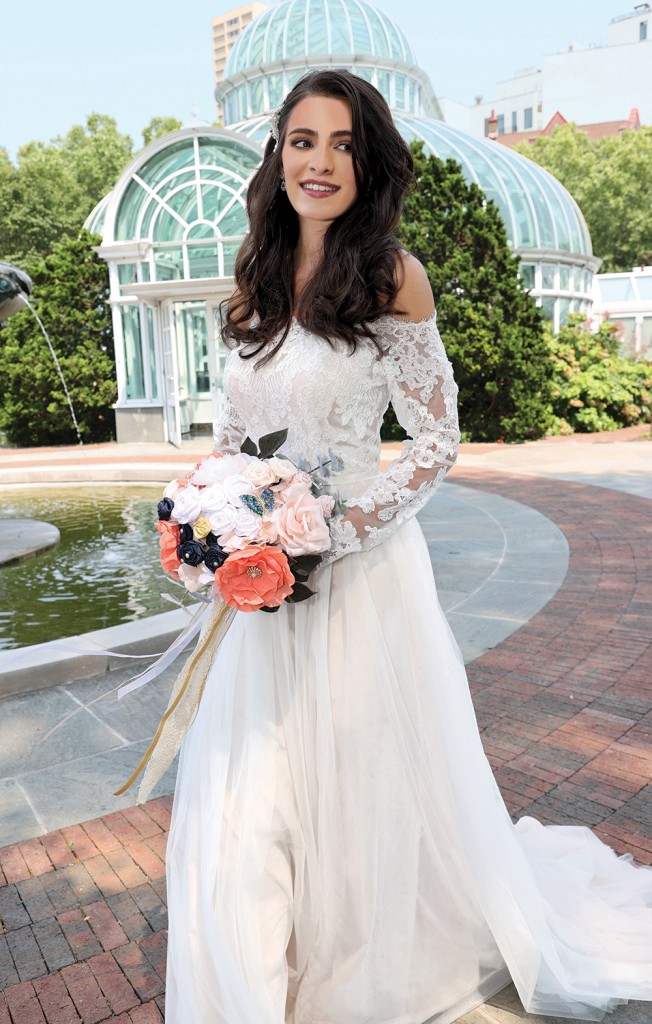 Gown: DB Studio at David's Bridal. Bouquet: Forever Brooch Bouquets.