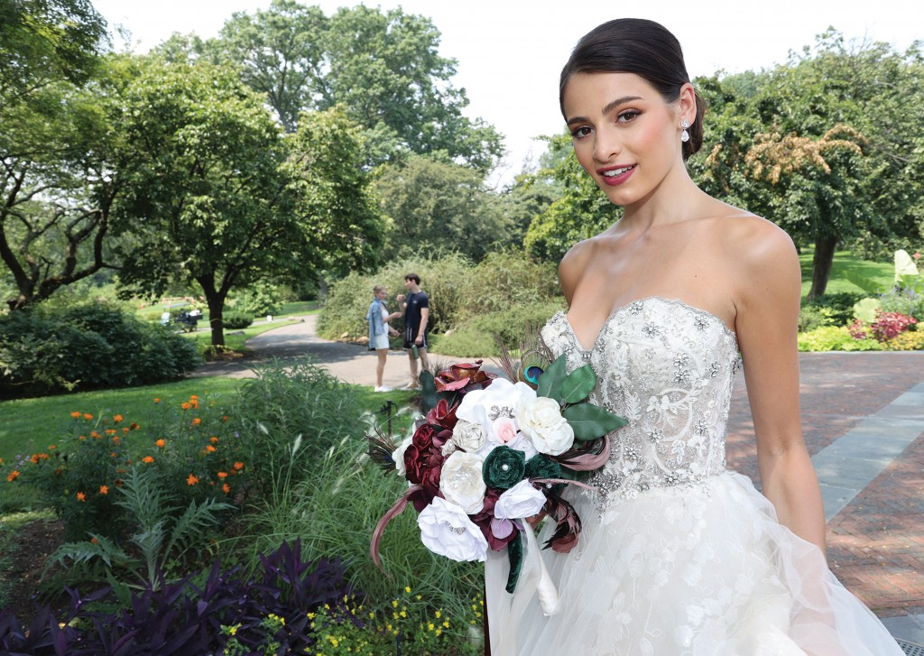 Gown: Eve of Milady (4368). Bouquet: Forever Brooch Bouquets.
